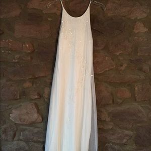 Pretty White Dress; illusion with 2-tone sequins